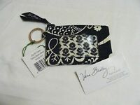 Vera Bradley Twirly Birds Navy Zip Id Coin Key Ring Case Fo Purse Tote Bag