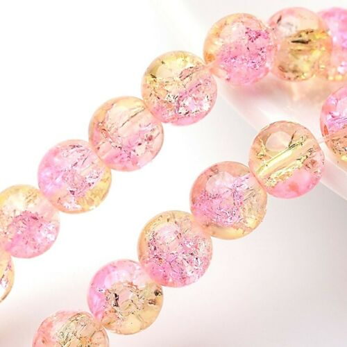 Crujido de vidrio Perlas Rosa 8mm X 100