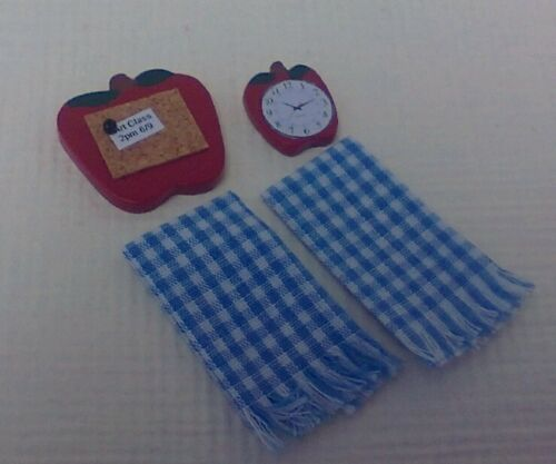clock /& checked towels Dollhouse miniatures handcrafted apple bulletin board