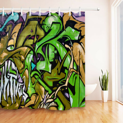 72x72/'/' Street Art Graffiti Paint Bathroom Shower Curtain Waterproof Fabric