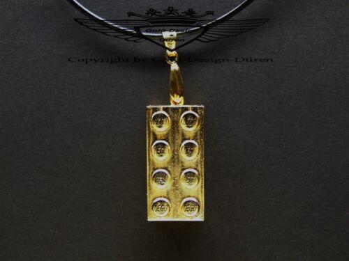 24 Karat vergoldetes Lego, Anhänger, Legostein, gold, tolles Geschenk Lederkette