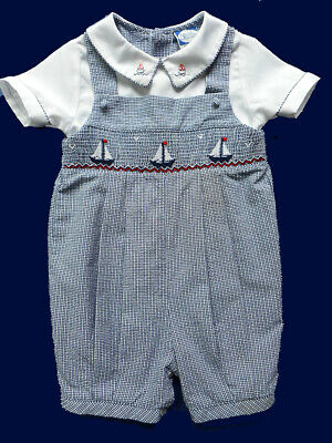 Baby 2T Carriage Boutique Girls Hand Smocked Bishop Dress Sailboats