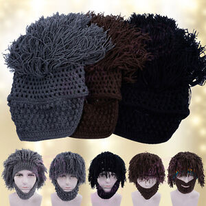 a968f7144d3 Image is loading Warm-Beard-Hat-Ski-Hat-Barbarian-Looter-Crochet-