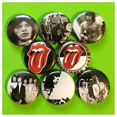 """ROLLING STONES 1"""" buttons badges MICK JAGGER RICHARDS"""