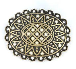 Vintage-Gold-Alloy-Crystal-Bling-Sun-Flower-Womens-Western-Belt-Buckle