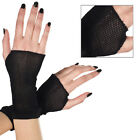 Gothic Punk Derby Black Mesh Fishnet Wrist Fingerless Gloves Halloween Costume