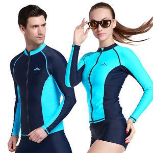 f208120b9e6 Men Women Long Sleeve Swim Shirt Anti UV Rash Guard Zipper Shirt ...