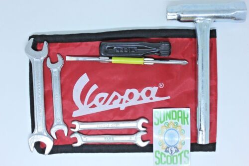 HANDY TOOL KIT IN A RED WOVEN POUCH SUITABLE FOR VESPA SCOOTERS.