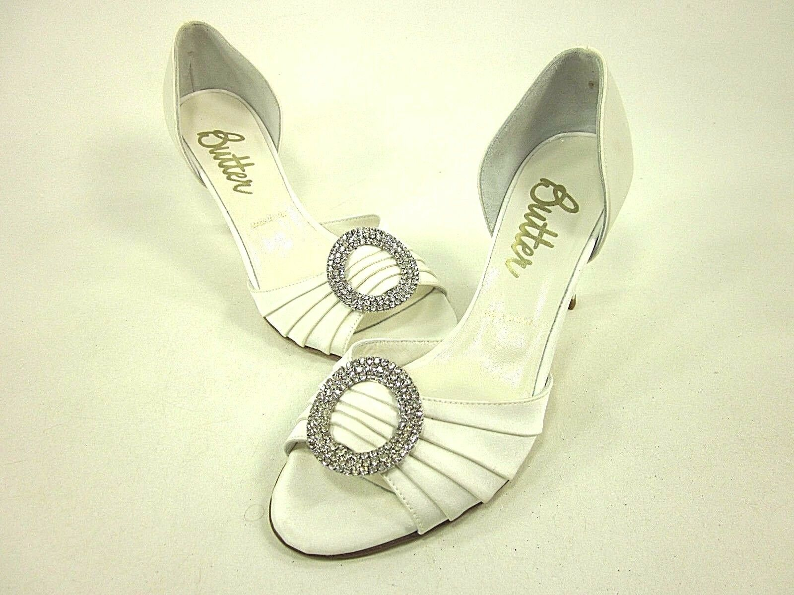 BUTTER, CASH PUMP, WOMENS, WHITE SATIN, US 7M, LEATHER, NEW WITH BOX