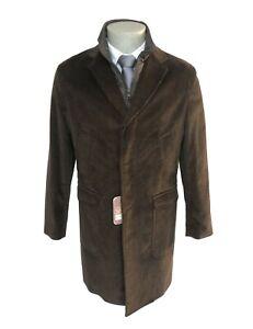 Cappotto-uomo-NAVIGARE-marrone-in-velluto-a-coste-completo-di-gilet-trapuntato