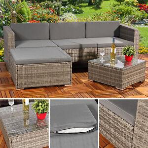 5tlg garten ecksofa lounge mit tisch polster sitzgruppe rattanm bel grau ebay. Black Bedroom Furniture Sets. Home Design Ideas