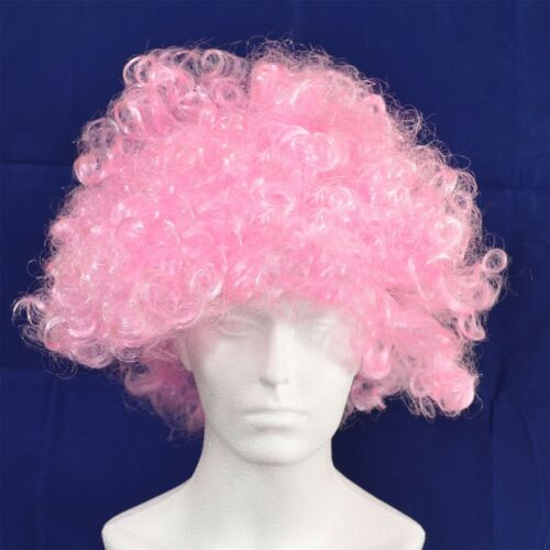 12 x Pink Curly 70s Afro Wig Fancy Dress Party Costume Disco Clown Unisex