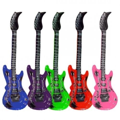 48x Luftgitarren 55 cm Luftgitarre Luft Gitarre Aufblasbare Gitarren gem Farben