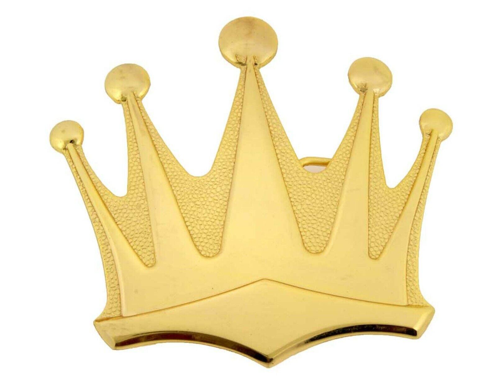 Crown Belt Buckle Western Rodeo Cowboy Gold Shiny Metal King Royal Men Women Big