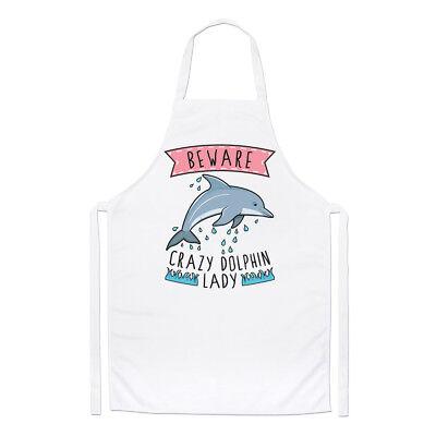 100% Vero Beware Pazzo Delfino Donna Chef Grembiule - Divertente Animale Cucinare Aspetto Attraente