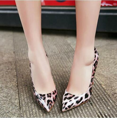 Chic Ladies Leopard High Heel Stilettos Patent Leather Pumps Shoes Clubwears New