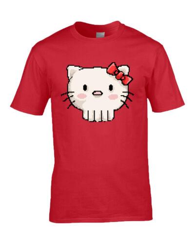 Skull Kitty Hello Kitty Inspired Geek Pixel Art Design T Shirt M//F//Y 7 Colours