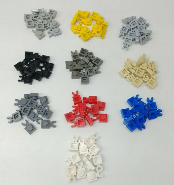 LEGO Parts NEW Pack of 10 Plate 1x1 with Clip Vertical 4085d LIGHT BLUISH GREY