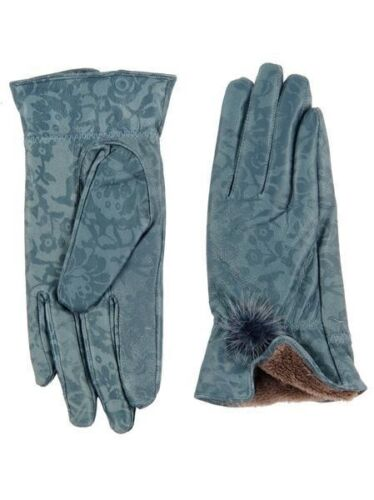 New Women 100/% soft patent Rose Winter Vintage Style 70s Blue Leather Gloves