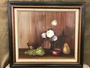 LARGE-24x20-034-Still-Life-Original-ANTIQUE-VINTAGE-OIL-PAINTING-on-CANVAS-Framed