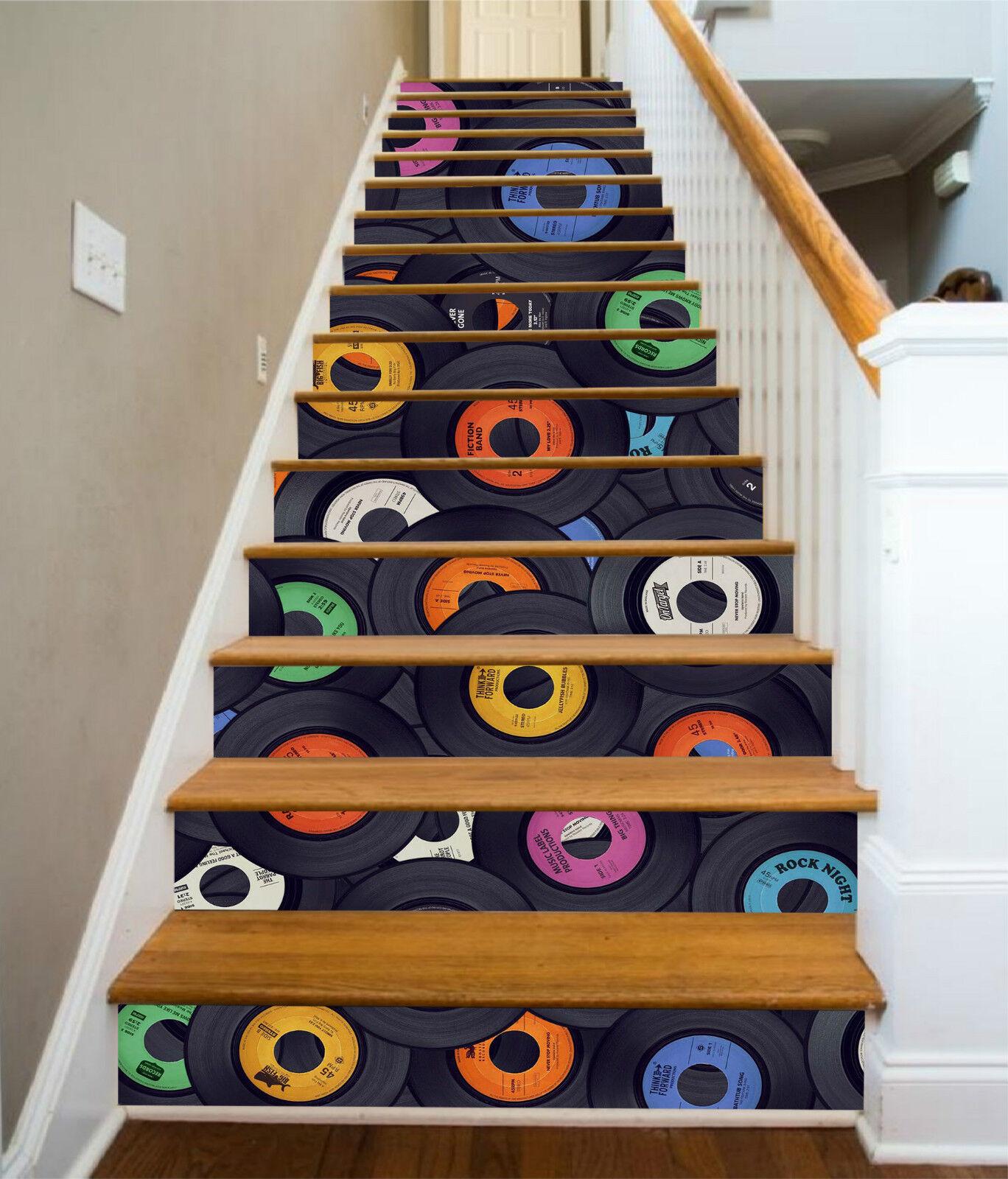 3D Farbe Disc 306 Stair Risers Dekoration Fototapete Vinyl Aufkleber Tapete DE