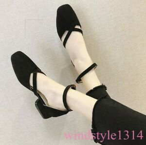 Spring-Womens-Mary-Jane-Shoes-Buckle-Strap-2019-New-Square-Toe-Pumps-Vintage-SZ