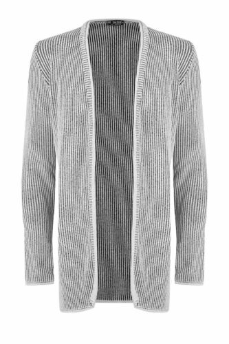 Mens Open Front Ribbed Knitted Chunky Long Sleeve Stretchy Jumper Cardigan S-XL