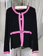 BCBG S M Small Medium Black Pink Knit Travel Career Cardigan Twinset Sweater Bow