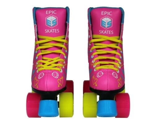 Pink /& Blue Women/'s Epic Blush High-Top Quad Roller Skates w// 2 pr of Laces