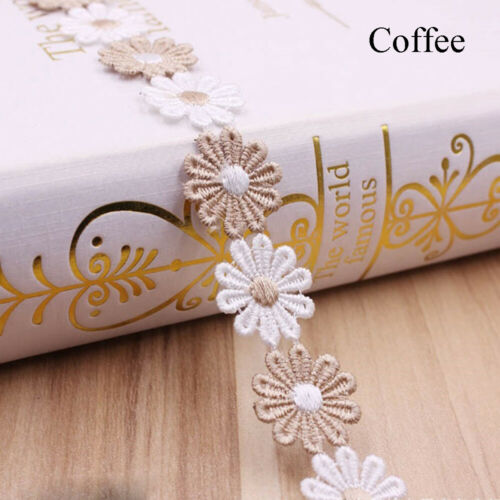 2 Yard 2.5cm Water Soluble Lace Trim Apparel Fabric Sun Flower Sewing Lace Trim~