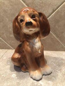 Vintage Royal Copley Puppy Dog Cocker Spaniel Figurine Pottery 1950s