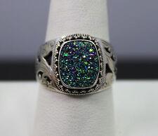 Sarda Sterling Silver Purple/Blue/Green Drusy Ring Size 10