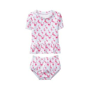 31556f7ce9c4 NWT Janie & Jack Little Waves Flamingo Rashguard 2PC Swimsuit 12-18M ...