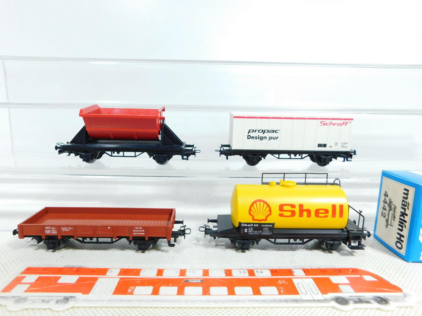 BX139-0,5 x Märklin H0 Ac Carro Merci Db   4442 Shell + Propac Ecc. ,Nuovo +