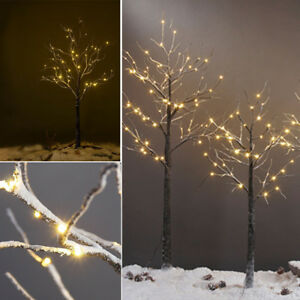 new styles 10f53 95594 Details about Pre-Lit Snowy Effect Black/White Trunk Twig Christmas Xmas  Tree Light Outdoor/In