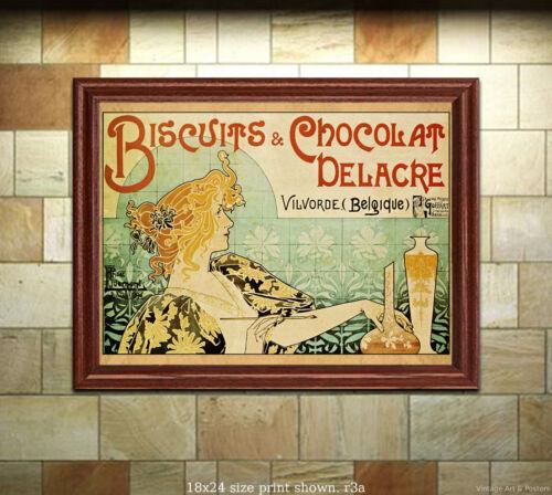 Biscuits /& Chocolat Delacre 4 sizes, matte+glossy avail Art Nouveau Print