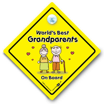 Grandchildren On Board Car Sign Baby on Board Sign Yellow and Black Car Sign Suction Cup Vehicle Window Sign