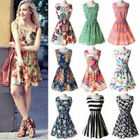 Sexy Women Summer Chiffon Floral Sleeveless Party Beach Dress Casual Mini Dress