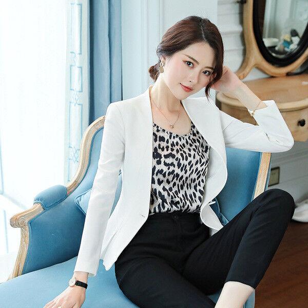 Élégant Costume Ensemble Femme Blanc Noir Veste Manches Longues Pantalon 7179