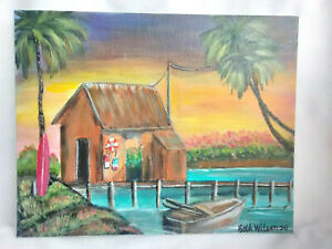 Original-Acrylic-Painting-8-x-10-Canvas-Panel-Crab-Shack-Coastal-Beach-Art