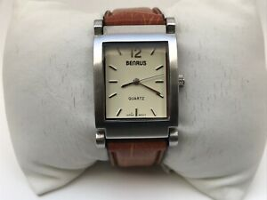 Bernus Men Watch Quartz Japan Movement Analog Brown Leather Band Wrist Watch