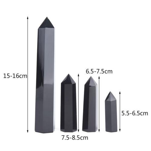 100/% Natural Obsidian Black Quartz Crystal Stone Point Healing Hexagonal  MO0