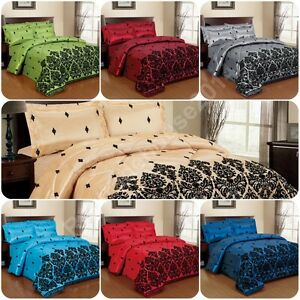 3 Piece Luxury Damask Flock Bed Spread Set & 2 Pillowcases / Curtains UK Seller