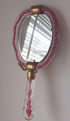 Handspiegel Murano Glas Rosa mit Messingfassung 60iger Jahre Design