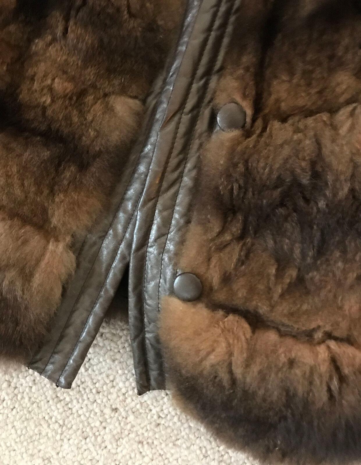 Brown 100/% Sheepskin Shearling Leather Lambskin Jacket Coat 3//4 Sleeve XS-6XL