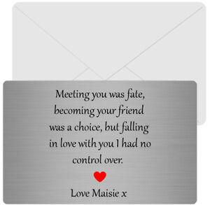 Sentimental  Metal Wallet Card keepsake Boyfriend//Girlfriend