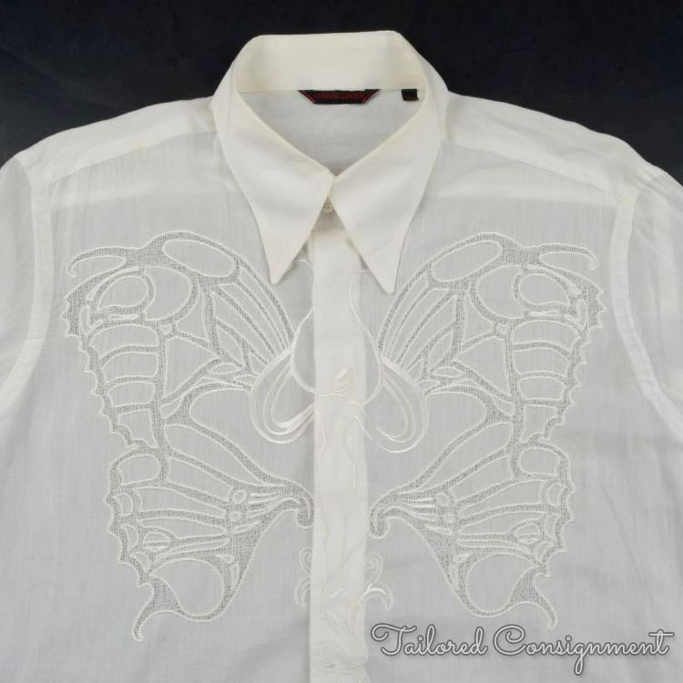 ROBERTO CAVALLI Off White BUTTERFLY Embroidered Runway Dress Shirt - 54   XL