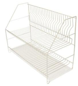 WHITE-Double-Dish-Drainer-Plate-Cutlery-Rack-Kitchen-Drainer-Holder-Drip-Tray