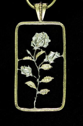 "# 832 Rose Pendant Hand cut Rose Medallion,14K and Rhodium,1/"" x 1-3//4/"" high"