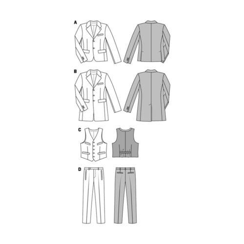 Burda 6871 Sewing Pattern Suit Jacket Vest Pants Formal Attire Church 34-50 NEW